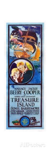 TREASURE ISLAND, from left: Jackie Cooper, Wallace Beery, 1934. Art at AllPosters.com