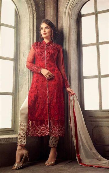 Picture of Magnificent Red Designer Pent Kameez Set