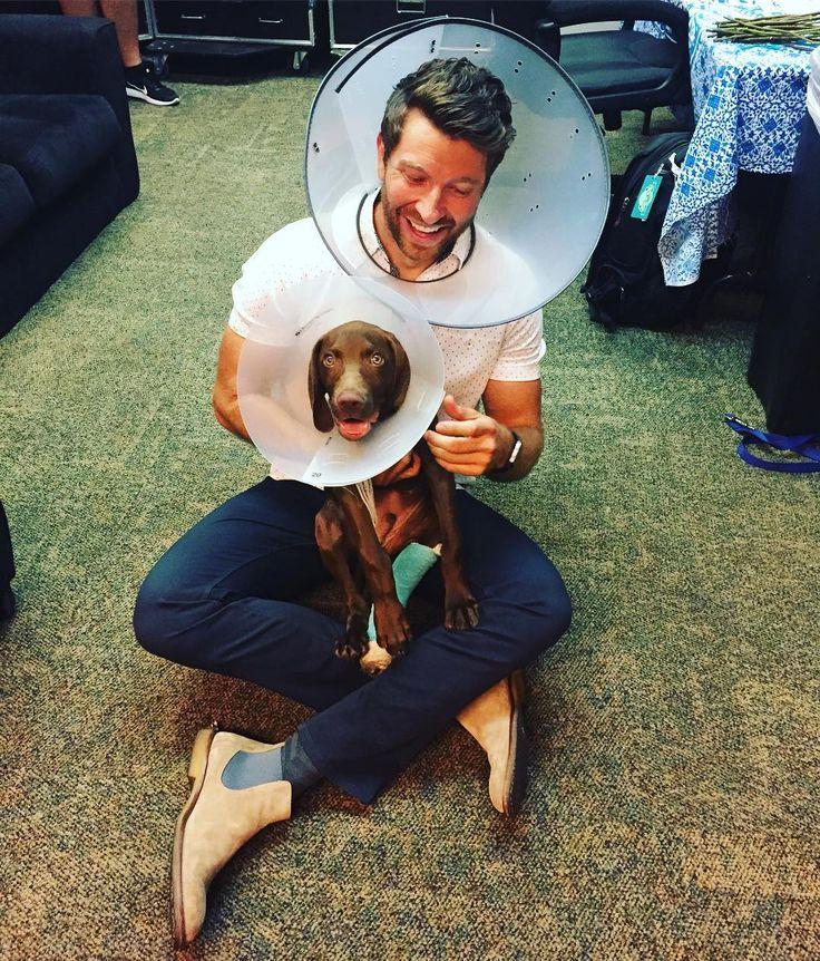 """58.2k Likes, 1,411 Comments - Brett Eldredge (@bretteldredge) on Instagram: """"The cone of shame!...didn't want Edgar to feel left out on #nationaldogday"""""""