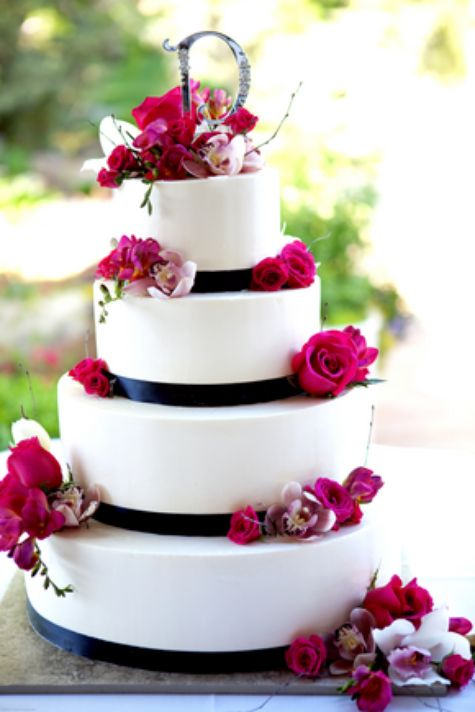 fuschia and black groomsmen | Our Wedding Cake....delicious vanilla with raspberry creme...