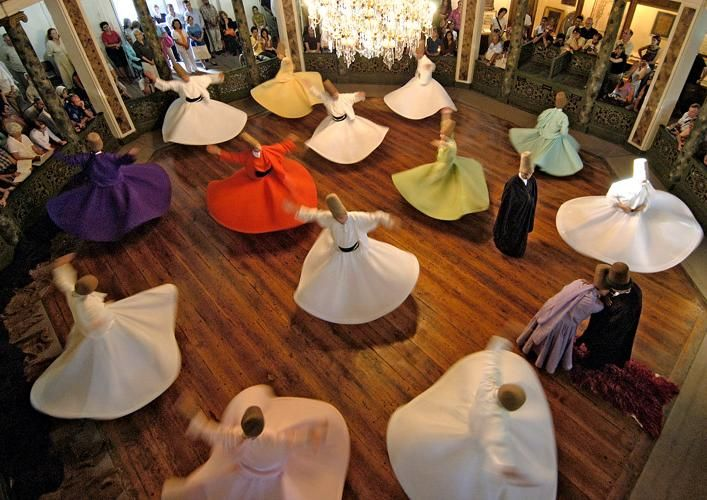 """Sufi whirling -الرقص الصوفي- is a form of Sama or physically active meditation which originated among Sufis, and which is still practiced by the Sufi Dervishes of the Mevlevi order.  Rumi says, """"All loves are a bridge to Divine love. Yet, those who have not had a taste of it do not know!"""""""