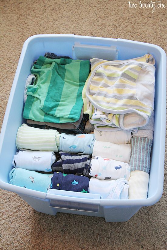 Like I mentioned in this post, my goal this year to simplify and organize.  So one thing I tackled this past weekend was organizing Owen's newborn to 3 month clothes and getting them packed up to put in our attic.