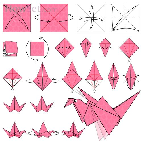 Flapping bird animated origami instructions how to make for Crane folding instructions