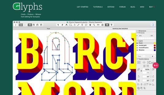 Best font editors: Glyphs