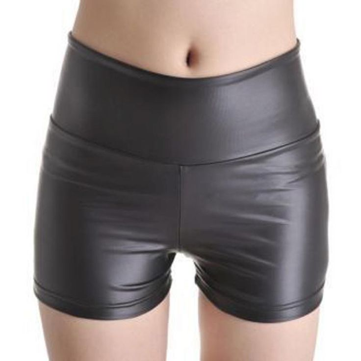 New Sexy Women Slim PU Leather Shorts High Waist Shorts Punk Rock Black #70591