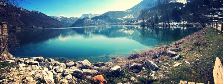 colors of the spring on the Scanno Lake