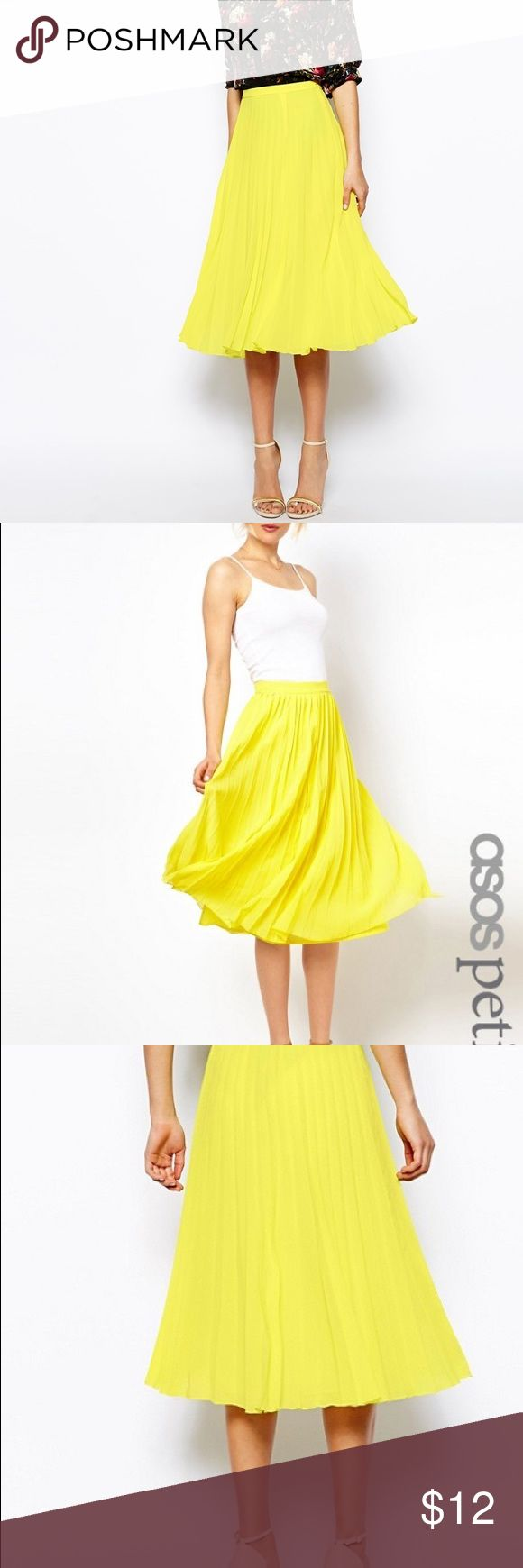"""Yellow plated midi skirt chiffon midi skirt with knife pleats. It is VERY sheer since I have removed the lining as it used to bunch up. There're a couple of snags that I have shown in the picture above but they aren't noticeable at all. The waist is 26"""" is is small for me now after 2 kids!! Sigh! There's no stretch on the waist. Perfect for this fall trend!! ASOS Petite Skirts Midi"""