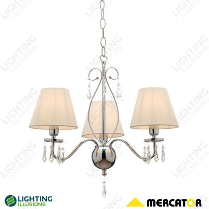 White Indiana 3 Light String Shade w/ Clear Glass Beads Pendant - Shop - Lighting Illusions Online