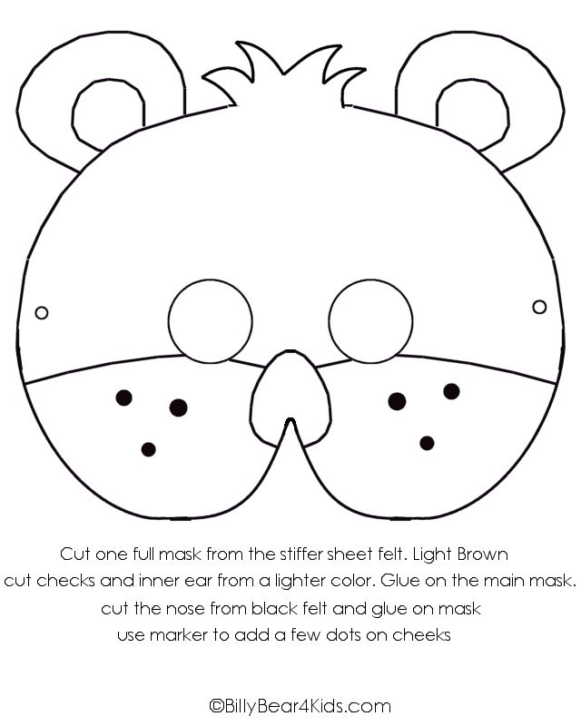Preschool Teddy Bear Activities | Teddy Bear Craft - Felt Bear Mask - BillyBear4Kids.com