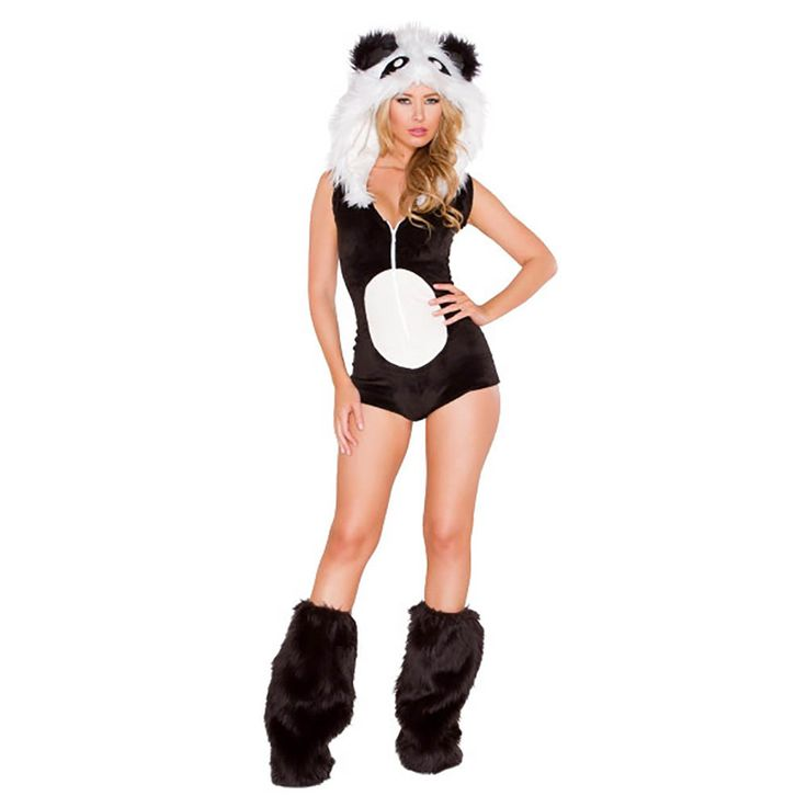 Fluffy Panda Costume Sexy Women Hooded Leotard Animal Costume Fancy Dress Furry Costume with Leg Warmers Carnival Adult Costumes #Affiliate