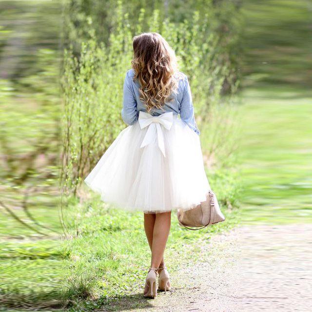 Cute Big Bow Tulle Skirt A Line Knee Length
