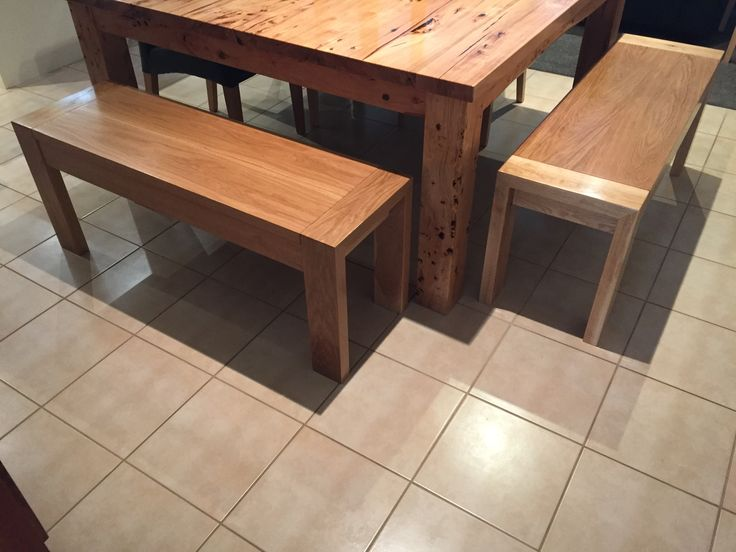 A couple of bench seats made from American oak timber