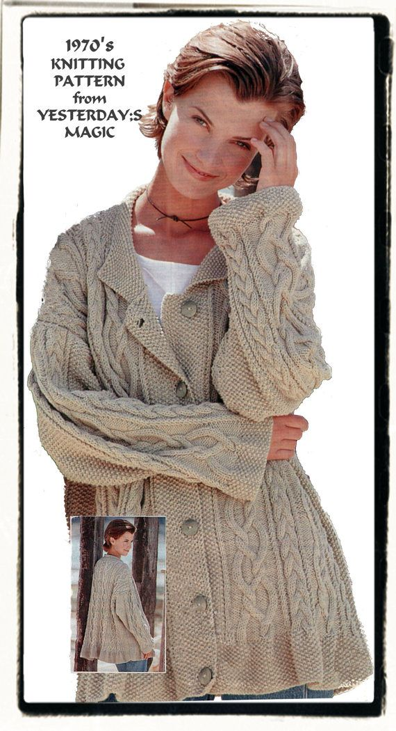 Aran Cable Loose Fit Swing Style Jacket 1970's by YesterdaysMagic, $3.50