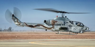 """A Bell AH-1W SuperCobra, from Marine Light Attack Helicopter Squadron 369 (HMLA-369) """"Gunfighters,"""" departing NAF El Centro."""