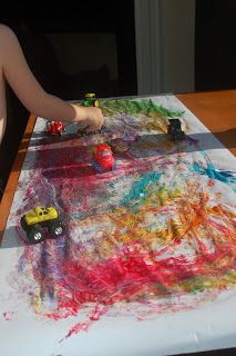 More Painting with Cars. The children always love this activity. I give them a car and one other toy. I also like to incorporate a color mixing lesson, i.e. give 1/3 the class blue and red, 1/3 blue and yellow, the other 1/3 yellow and red. #kindergartenart #colormixing