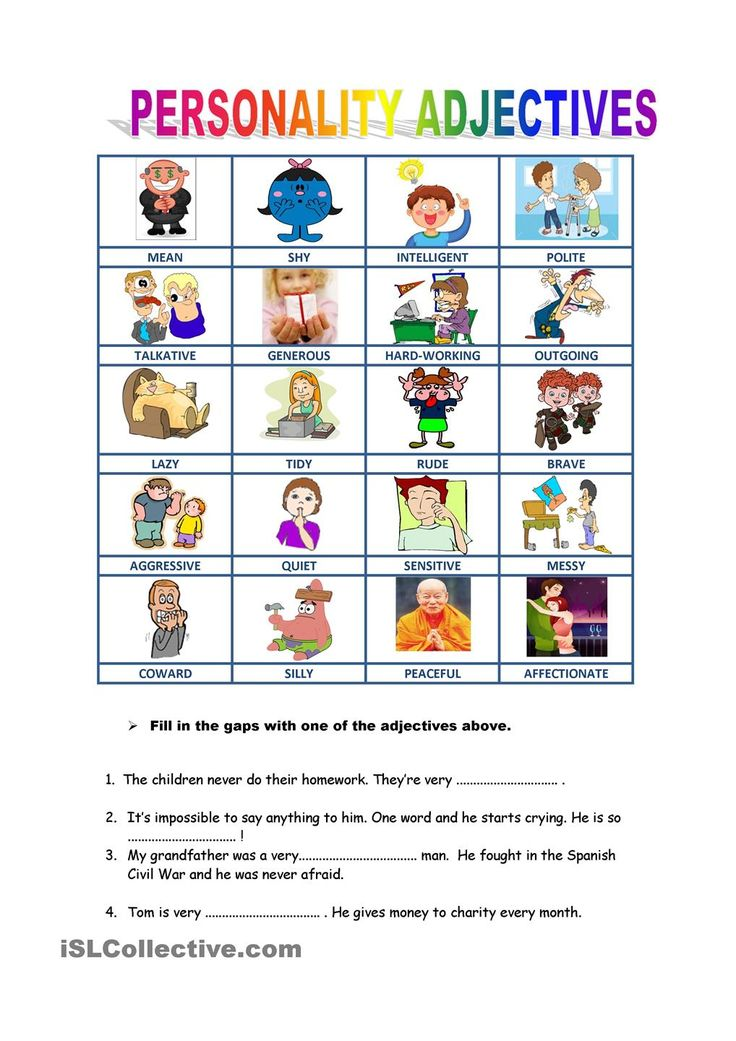 pin personality adjectives worksheet - photo #24
