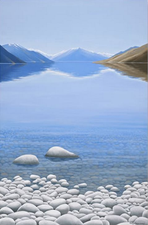 At the Edge of the Lake - by Christchurch artist, Robyn Schroeder. Available from stockists throughout NZ and online at www.imagevault.co.nz