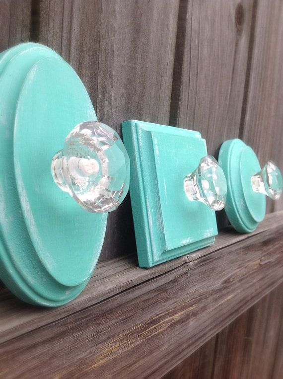 Set of 3 Distressed Teal Key Holders-3 Wood Key Holders with Knobs-Key Hook-Coat Hook-Beach decor-Shabby-Wall Decor-Home Decor-Gift-Bathroom...