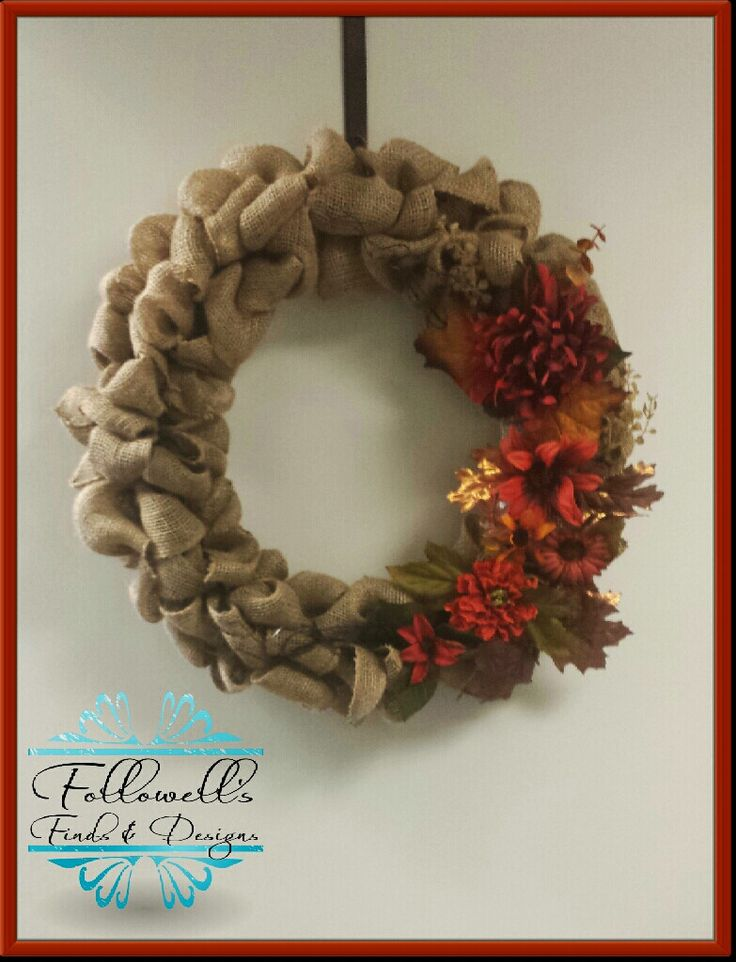 Burlap Fall Flower Wreath