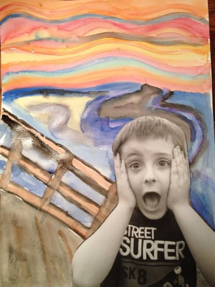 "Edvard Munch... The Scream. Back to School art activity. ""Grade 3, What a Scream!"""