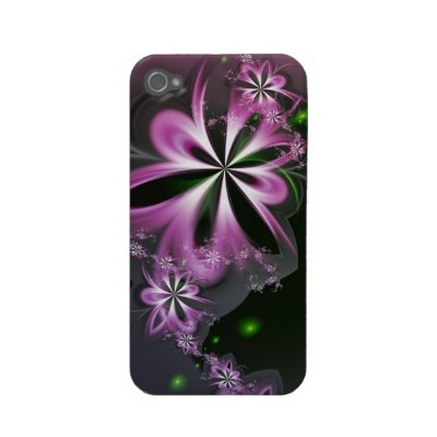 Pink Flower Swirls Abstract Fractal Elegant Iphone 4 Case