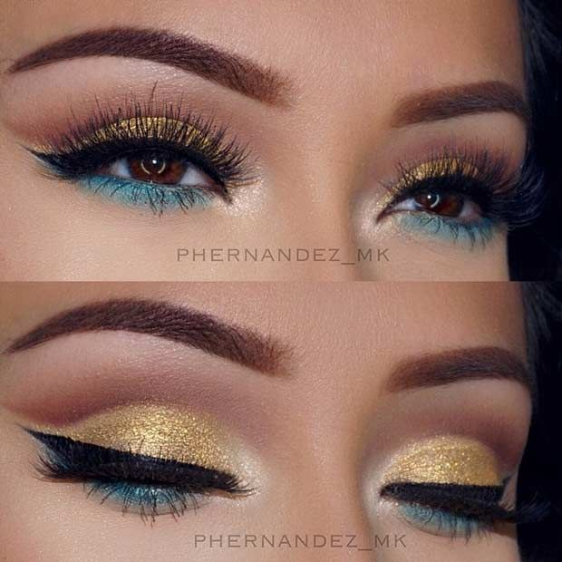 Bright Gold and Green Eye Makeup Look