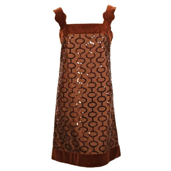f59f773a6da For Sale on - Very rare brown sequined demi-couture dress trimmed in velvet  designed by Pierre Cardin dating to the Dress best fits a US 4 or Measures  ...