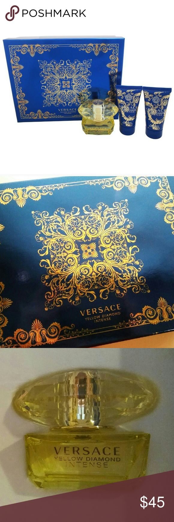 Versace Yellow Diamond Intense Gift Set Brand new with tags! Perfect for mothers day! Versace Yellow Diamond Intense Gift Set! 3 Pc Gift Set   This feminine fragrance has a blend of benzoin, amber wood, palo santo, musk, orange blossom, jasmine, and osmanthus  Eau de Parfum Spray  1.7 FL OZ  Perfumed Body Lotion 1.7 FL OZ   Perfumed Shower Gel 1.7 FL OZ Versace Makeup