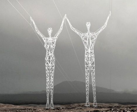 """In Iceland, the """"Landsnet High-Voltage Transmission Line Tower Design Competition"""" challenged designers to rethink electric pylons, producing stunning contest entries like 'Land of Giants' by Choi + Shine Architects."""