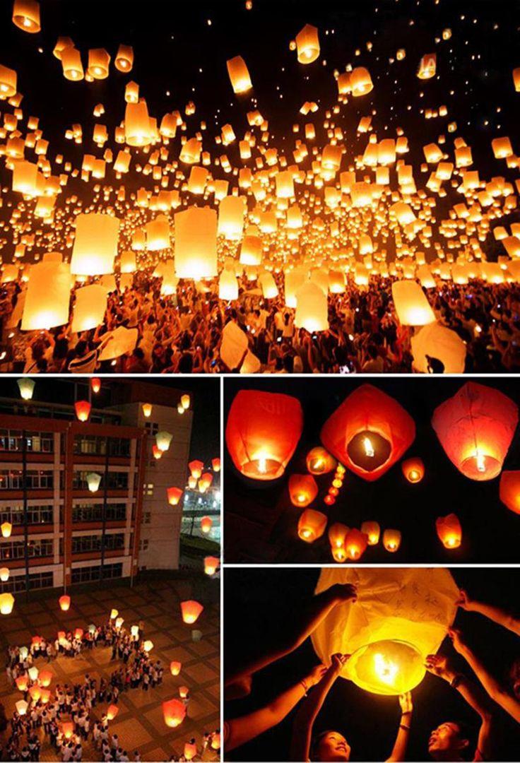 10 шт. белая книга китайские фонарики своих небо летающие бумаги свеча желание лампы для рождения желание ну вечеринку свадебные украшения купить на AliExpress