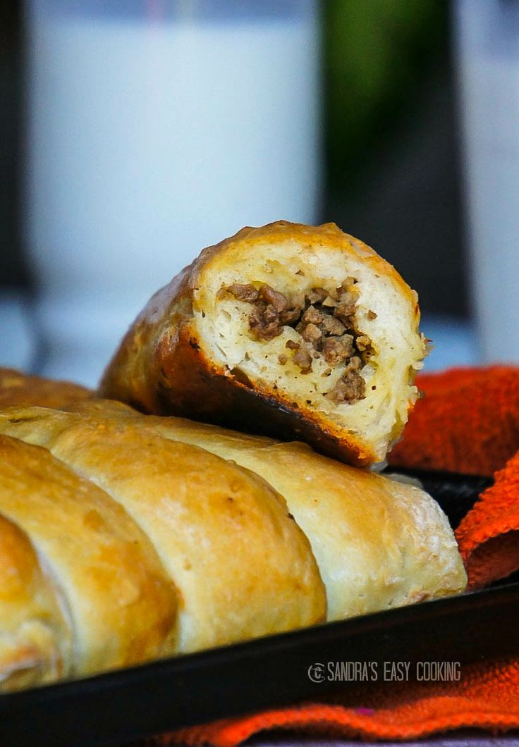 Meat Rolls stuffed with sauteed ground beef, onion, carrots and seasonings #homemade @SECooking | Sandra | Sandra | Sandra