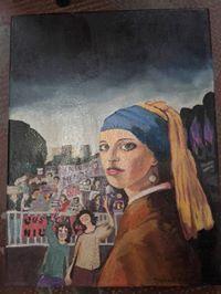 La joven del perla en la plaza by Corina Dehne