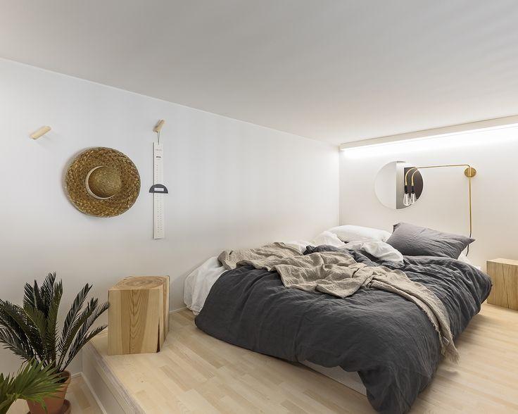 SATO StudioKodissa nukutaan parvella, jotta alakerta jää kokonaan muille askareille. Kuva: Tuomas Uusheimo