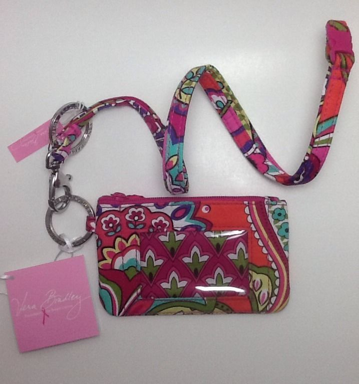 Vera Bradley Zip ID Case & Breakaway Lanyard in Pink Swirls-NWT-$28 Retail-FS! #VeraBradley