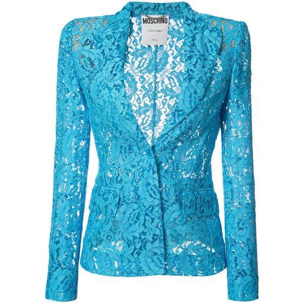 Moschino lace blazer (1,970 NZD) ❤ liked on Polyvore featuring outerwear, jackets, blazers, blue, long sleeve blazer, lace jacket, lace blazer, lace blazer jacket and blue jackets
