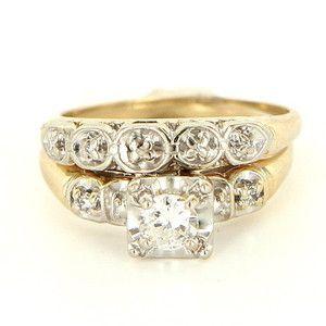Vintage 14 Karat Yellow Gold Diamond Wedding Ring Set Fine Bridal Jewelry Estate $799