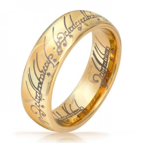 bling jewelry lord of the rings style gold plated polished tungsten ring pendant 7mm 3399 - The One Ring Wedding Band