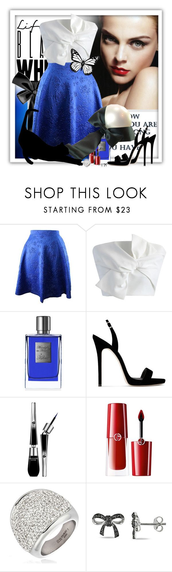 """Take A Bow 🎀"" by pusja76 ❤ liked on Polyvore featuring Chicwish, Kilian, Giuseppe Zanotti, Lancôme, Giorgio Armani, Chanel, West Coast Jewelry and Miadora"