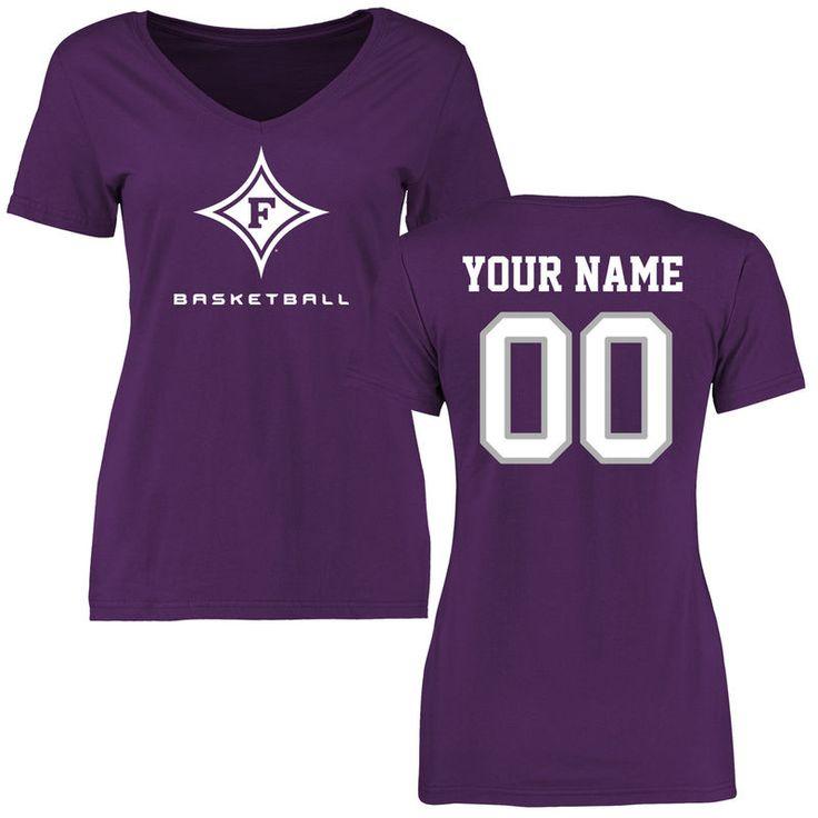 Furman Paladins Women's Personalized Basketball Slim Fit T-Shirt - Purple