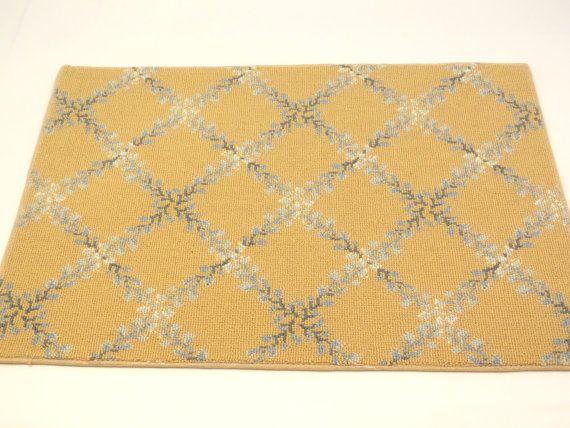 Wool Door Mat Schumacher Carpet Mat 18'' x 27'' Carmella Bella Collection Beige 100% Wool on Etsy, $11.99