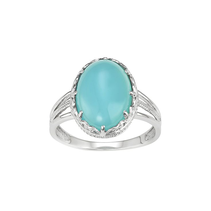Sterling Silver Blue Chalcedony Oval Cabochon Ring, Women's, Size: 8