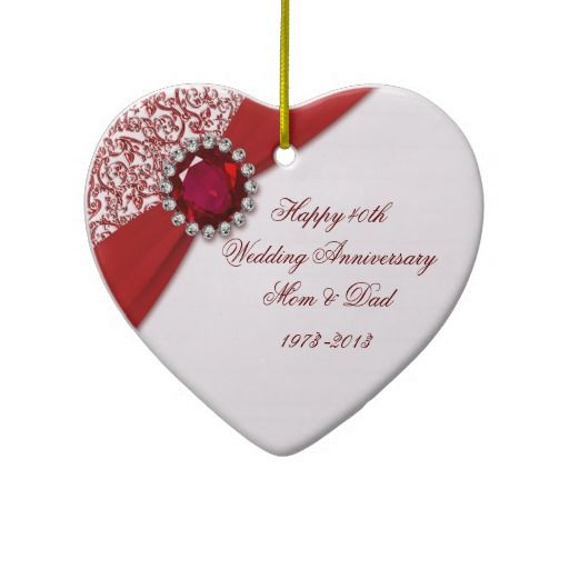 Personalised Gifts Ruby Wedding Anniversary 40th Ornament