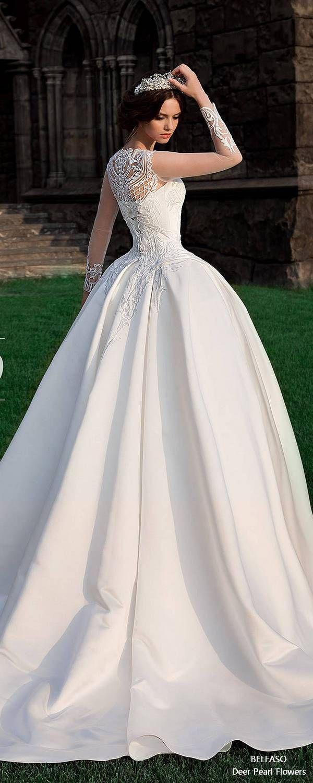 Ball Gown Long Sleeve Wedding Dress Lace Back Bridal Dress Satin Bernarda 3