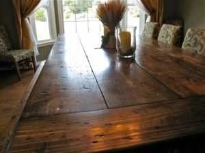 Complete instructions for making your own gorgeous rustic table... seems easy enough, and looks fantastic!