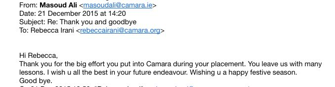 Note of thanks from CEO, Camara Education Limited, for lessons learned.