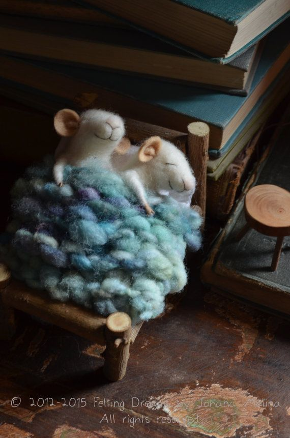 Sleeping Mice - quilting - unique - needle felted ornament animal, felting dreams READY TO SHIP via Etsy
