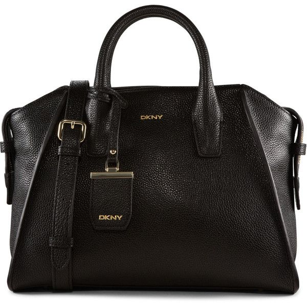DKNY Fine Pebble Leather Satchel (€265) ❤ liked on Polyvore featuring bags, handbags, black, accessories handbags, dkny handbags, satchel purse, top handle purse and purse