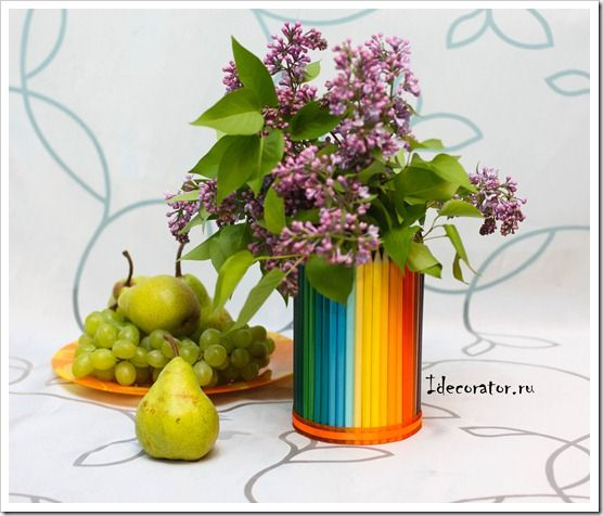 how to make a vase of colored pencils