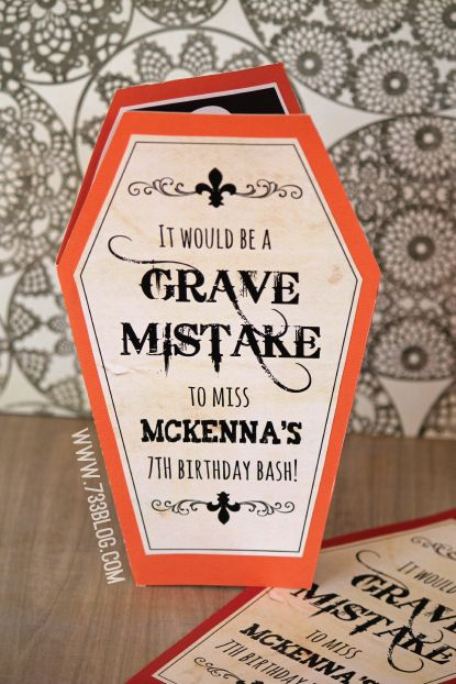 "Halloween Birthday Bash {Free Printable Invite} ~ Says: I've made a template for you to download and fill in your info with a sharpie! The 8.5"" x 11"" pdf download includes the main coffin template, the front piece that says ""Grave Mistake"" and the inside with the skeleton holding a parchment with who, where, when and RSVP to fill out."
