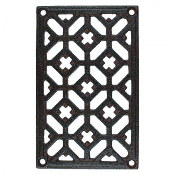 Gitter Schmiedeeisen Fenstergitter Möbelbeschlag Türbeschlag im rustikalen Stil. Rechteckiges Metall Gitter aus Eisen. Weitere sonstige Beschläge